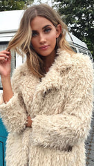 Penny Lane Shaggy Fur Jacket Taupe