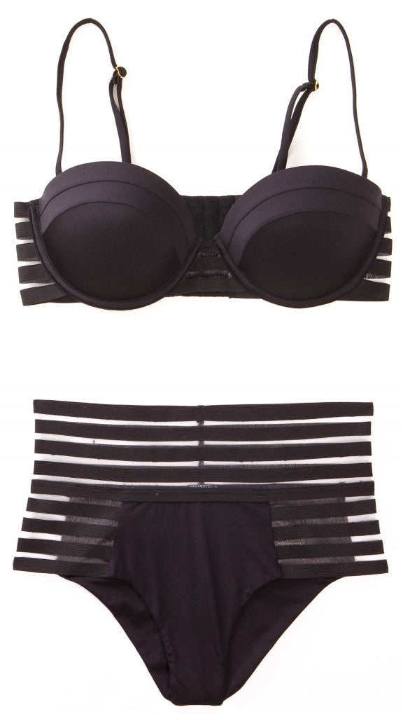 beach bunny swimwear sheer addiction balconette underwire high waist bikini black