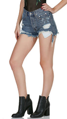 Summer Festival High Waist Distressed Ripped Denim Cut Offs Jeans ShopAA