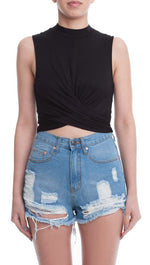 Lush Criss Cross Sleeveless Crop Top Black