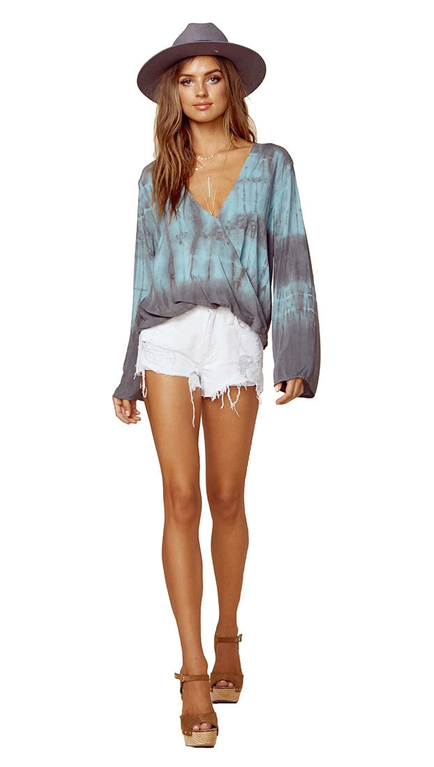 Blue Life Hayley Blouse Top in COT D'AZUR Tie Dye
