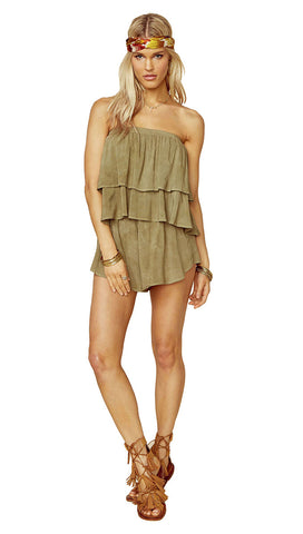 Marion Tiered Romper Spanish Olive Green by Blue Life l ShopAA