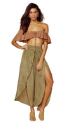 Blue Life Melanie Lace Up Top St Tropez Brown Crop Strapless