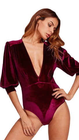 Talyah Deep Plunge Bishop Blouse Sleeve Velvet Bodysuit Burgundy Red Sangria
