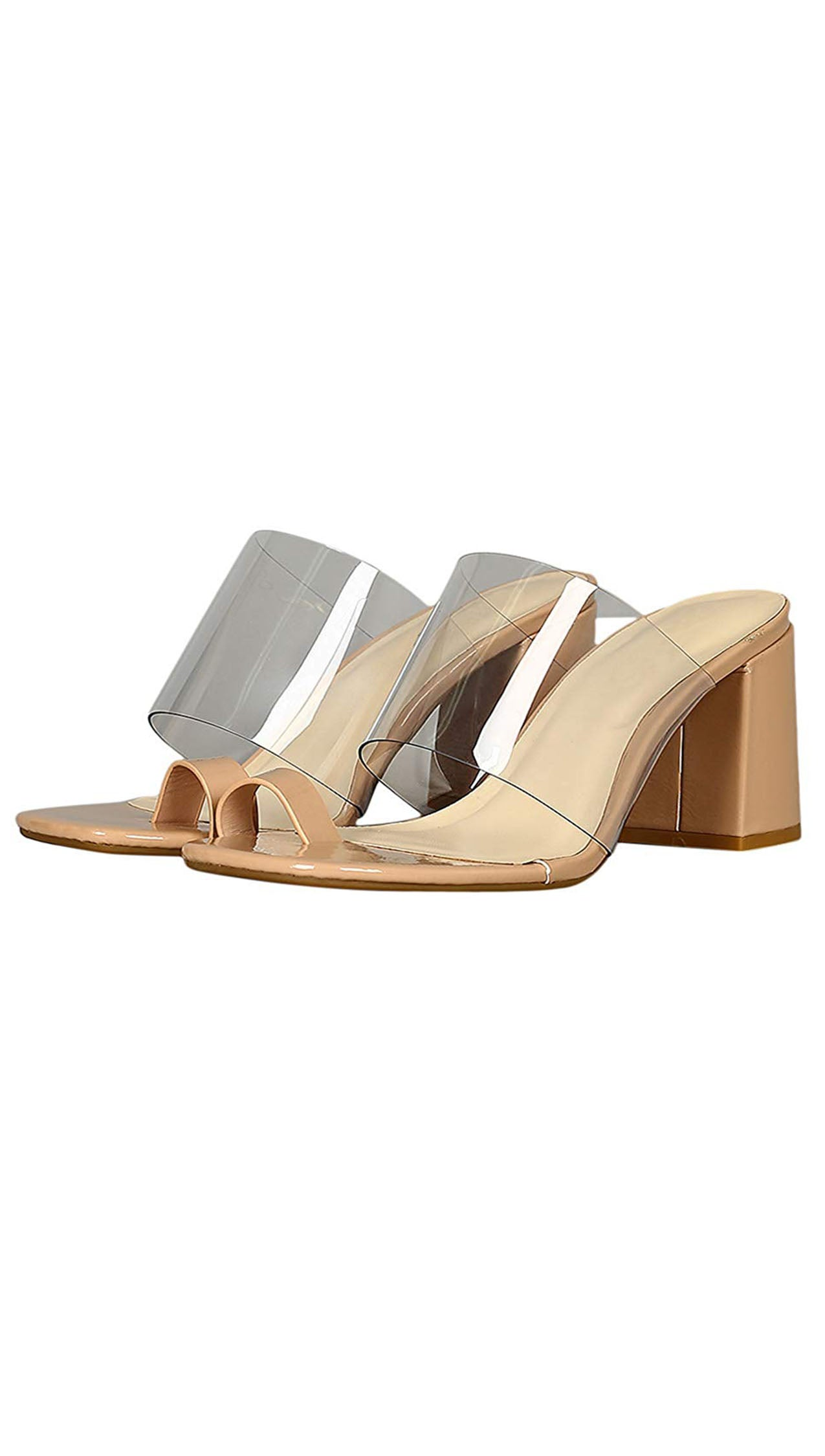 d9b1987f8a8 Clear plastic band to Ring Chunky Heeled Mules