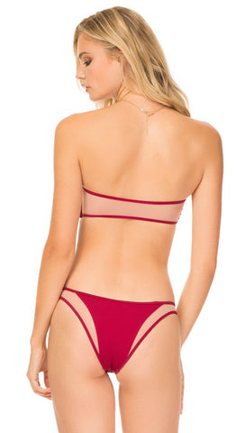Tori Praver Royale Pull Over Bandeau Bikini Top Cranberry Swim | ShopAA