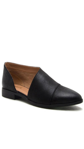 D'Orsay Pointed Toe Shoes Open Shank Oxford Flats Black ShopAA Tuxedo