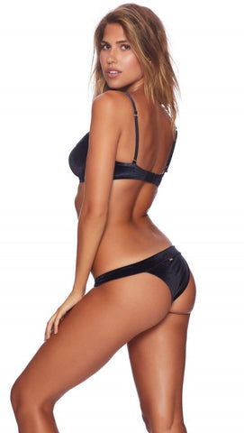 London Velvet Skimpy Bikini Bottoms Black Beach Bunny Swimwear ShopAA