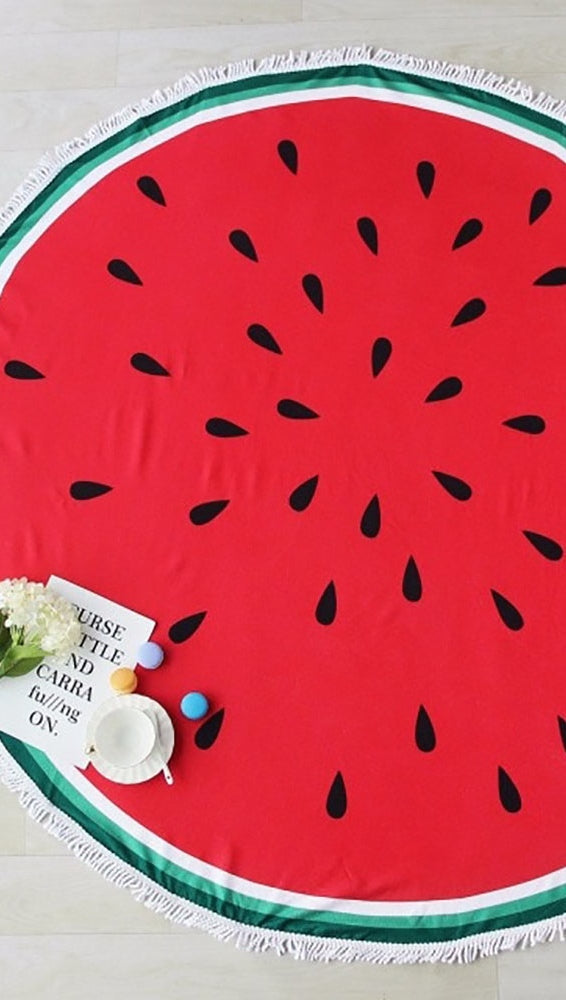 Watermelon Round Fringe Beach Towel Throw Circle ShopAA