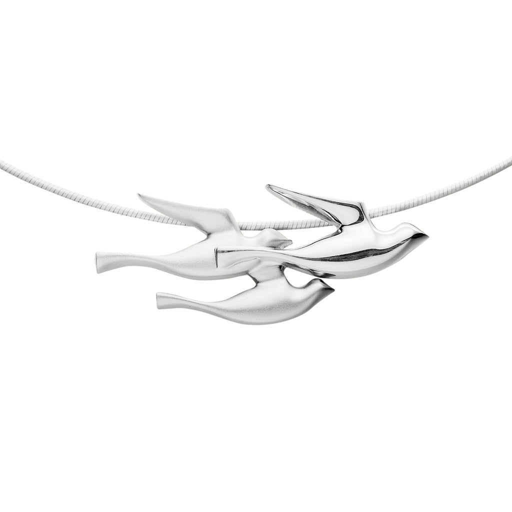 Birdland Mixed Metal Triple Bird Necklet