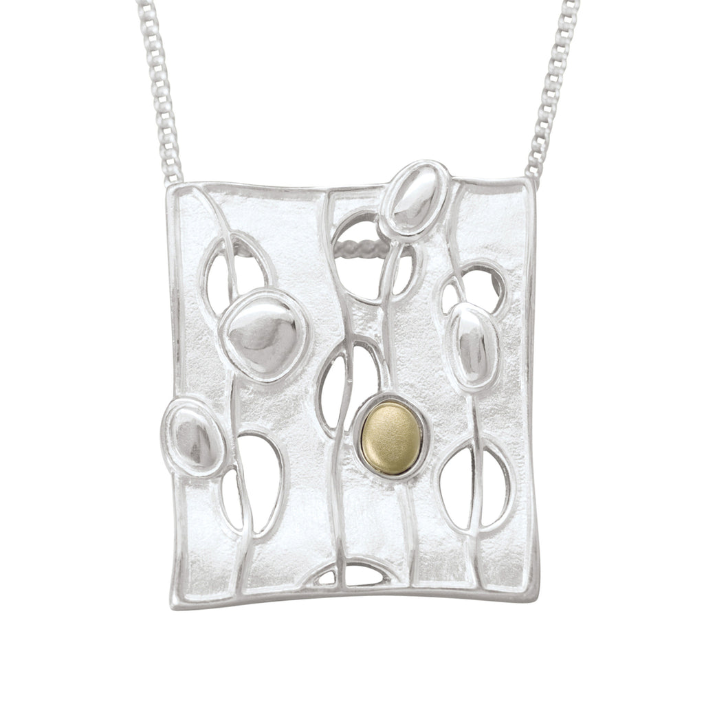 Flow Square Mixed Metal Pendant