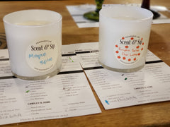 pour a fall scented candle at scent and sip