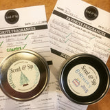 Scent & Sip, You make a candle and custom labels