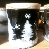 Scent & Sip, black candle with painted trees