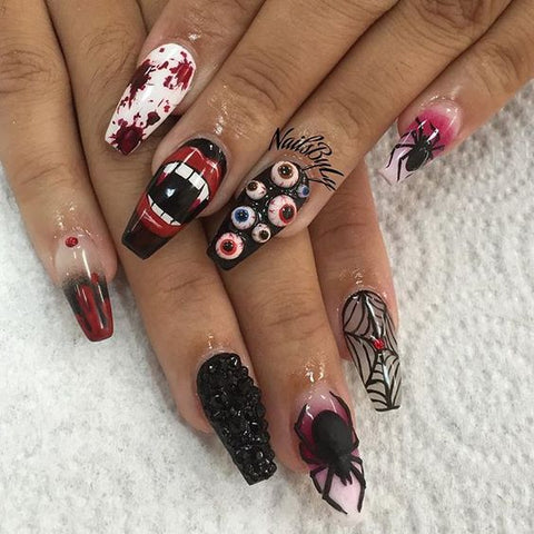 3d halloween nails eye balls creepy scary crazy manicure