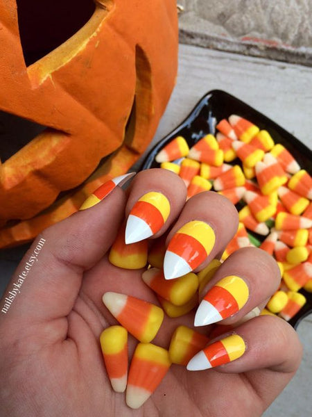 candy corn nails halloween manicure