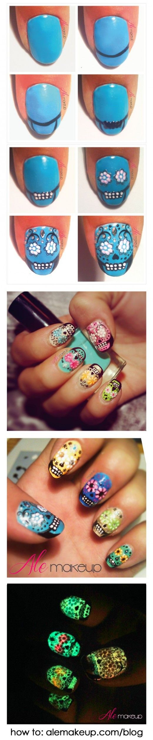 sugar skull tutorial makeup beauty nails glow in the dark