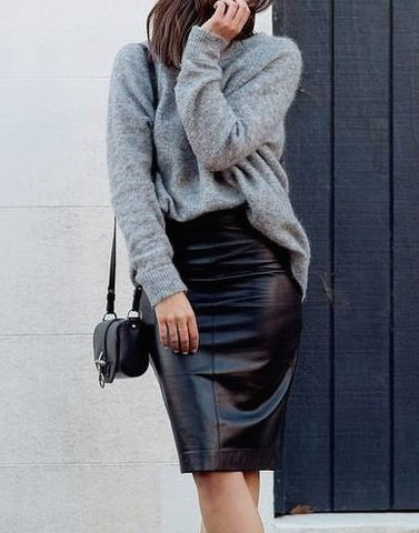 jumper and leather pencil skirt street style autumn winter