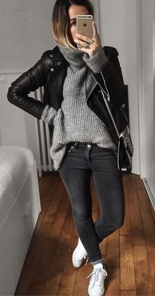 leather jacket selfie layering jumper street style autumn winter