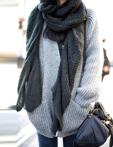 wooly cosy comfy jumper scarf street style