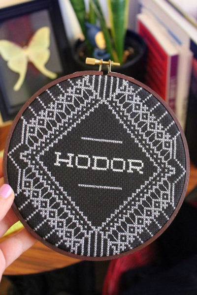 game of thrones hodor pattern funny cross stitch black blackwork work embroidery