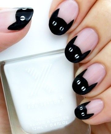 easy cat cute nails manicure halloween nails black cat
