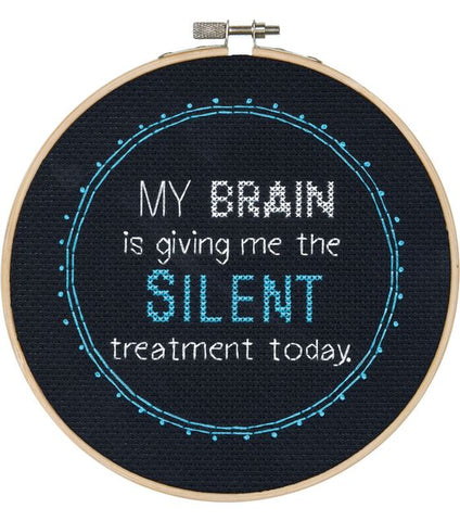 office my brain is giving me the silent treatment funny cross stitch embroidery
