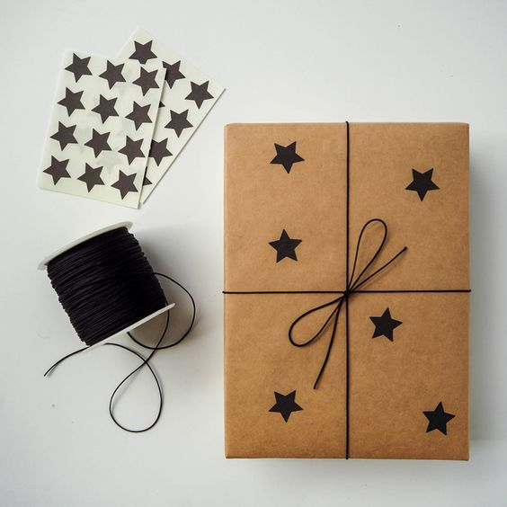 easiest gift wrapping ever wrap black and brown ideas xmas star stickers christmas