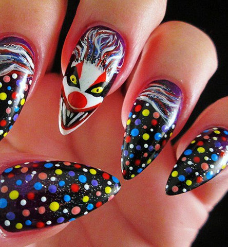 halloween clown nails popping dot work