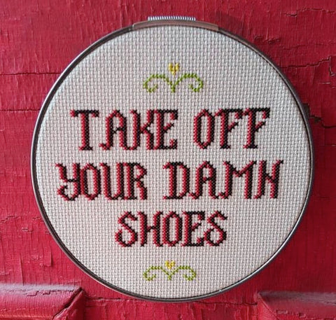 take off your damn shoes sign for house kids funny cross stitch embroidery purposeful