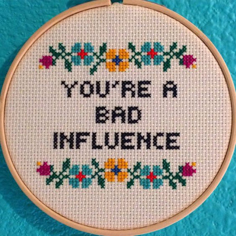 funny cross stitch present bad influence friend gift