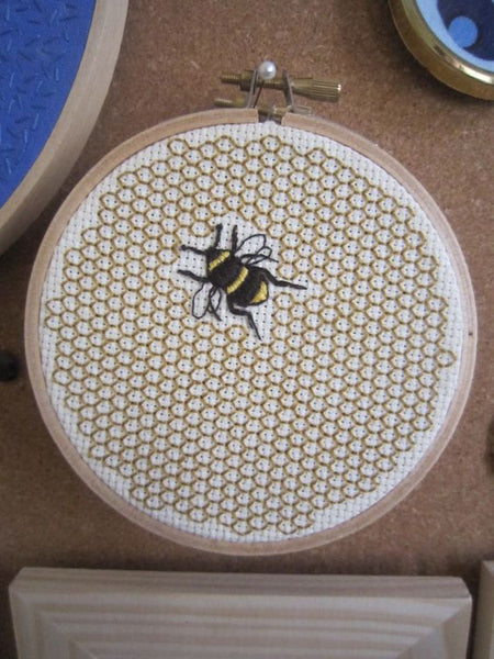 honey bee comb pattern embroidery cross stitch ring present gift