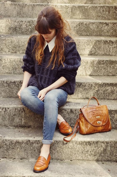sitting on steps schoolgirl look street style trend winter jumper