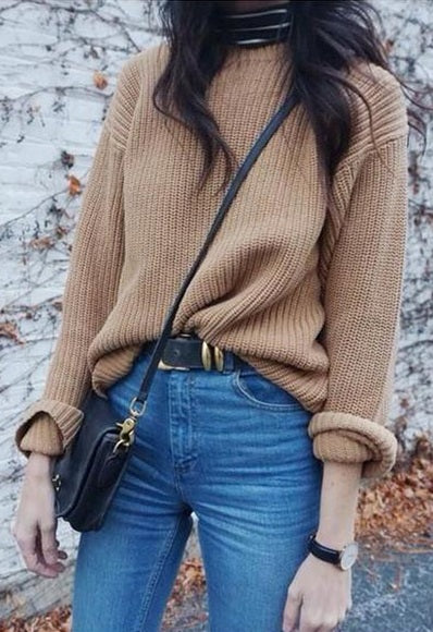retro high waisted belted jeans favourite jumper street style autumn winter