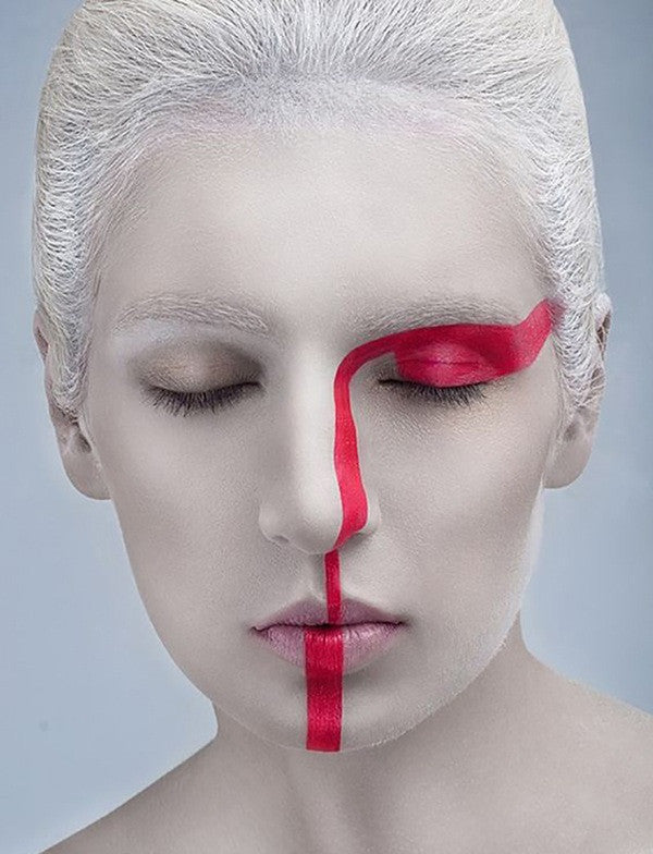 red and white makeup cosplay halloween sleeping model makeup abstract weird body art