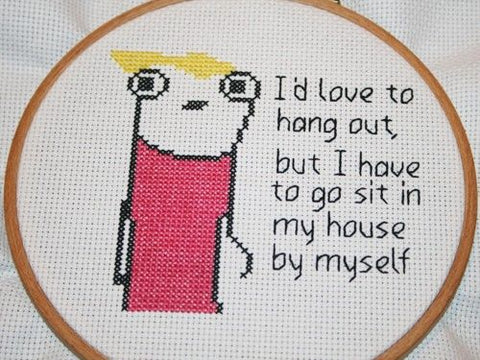 meme cross stitch introvert funny embroidery reddit 9gag