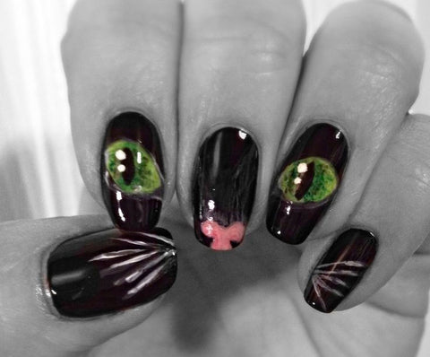 cat nails feline meow vixen easy at home painted nails manicure halloween