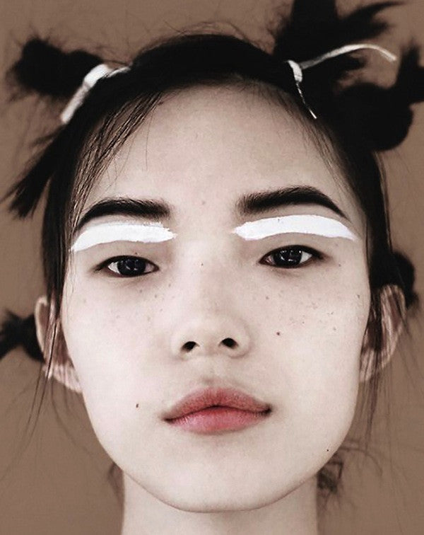 black and white japanese catwalk model makeup korean chinese 90s updo