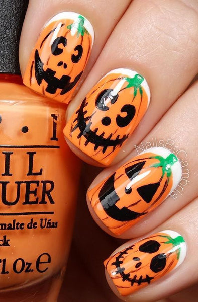 pumpkin orange halloween nails manicure