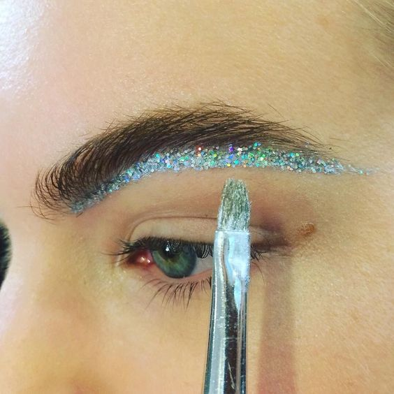 catwalk eyebrow makeup glitter brow sequin backstage nye xmas christmas party look