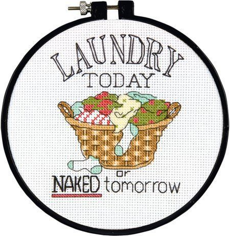 laundry room sign cross stitch embroidery funny naked tomorrow