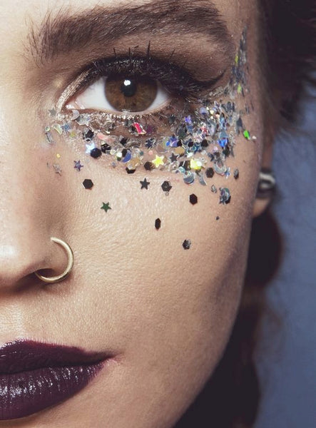 rock punk goth chic chick nose pearcing sequin glitter eye makeup dark lip