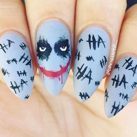 batman nails manicure halloween bat ha ha ha tattoo joker heather ledger