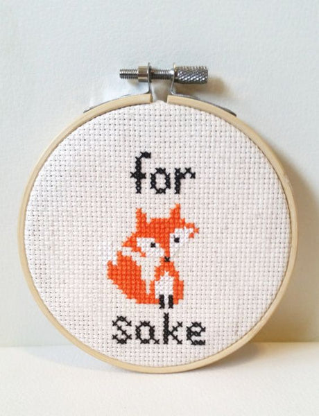 for fucks sake for fox sake foxy lady cross stitch embroidery funny gift idea christmas pattern
