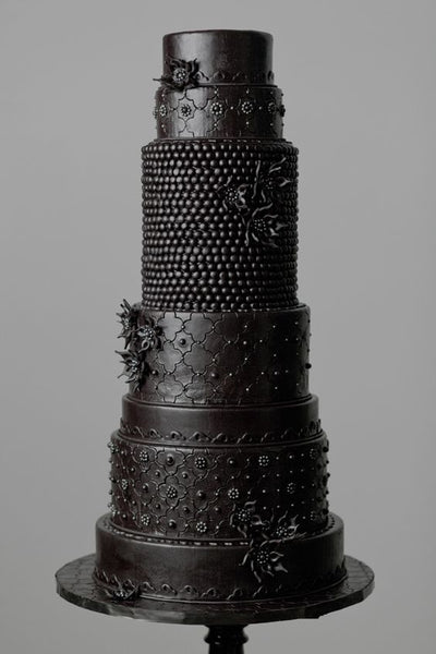 black wedding cake all one colour cake tiered tall cake