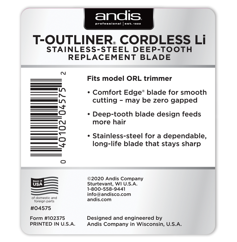 Andis T-Outliner Cordless Li Deep-Tooth Stainless-Steel Replacement Blade #04575