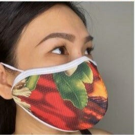 Antimicrobial Fluid Resistant Fabric Mask in Red Sunset