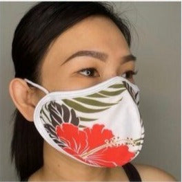 Antimicrobial Fluid Resistant Fabric Mask in Red Hibiscus with Brown Leaf