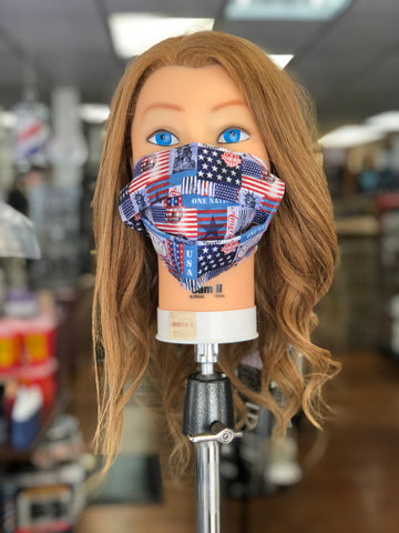 Reusable America Cloth Face Mask With MERV 14/90-95 Filter