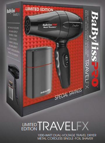 BaBylissPRO Limited Edition TravelFX Travel Dryer/Single Foil Shaver Combo